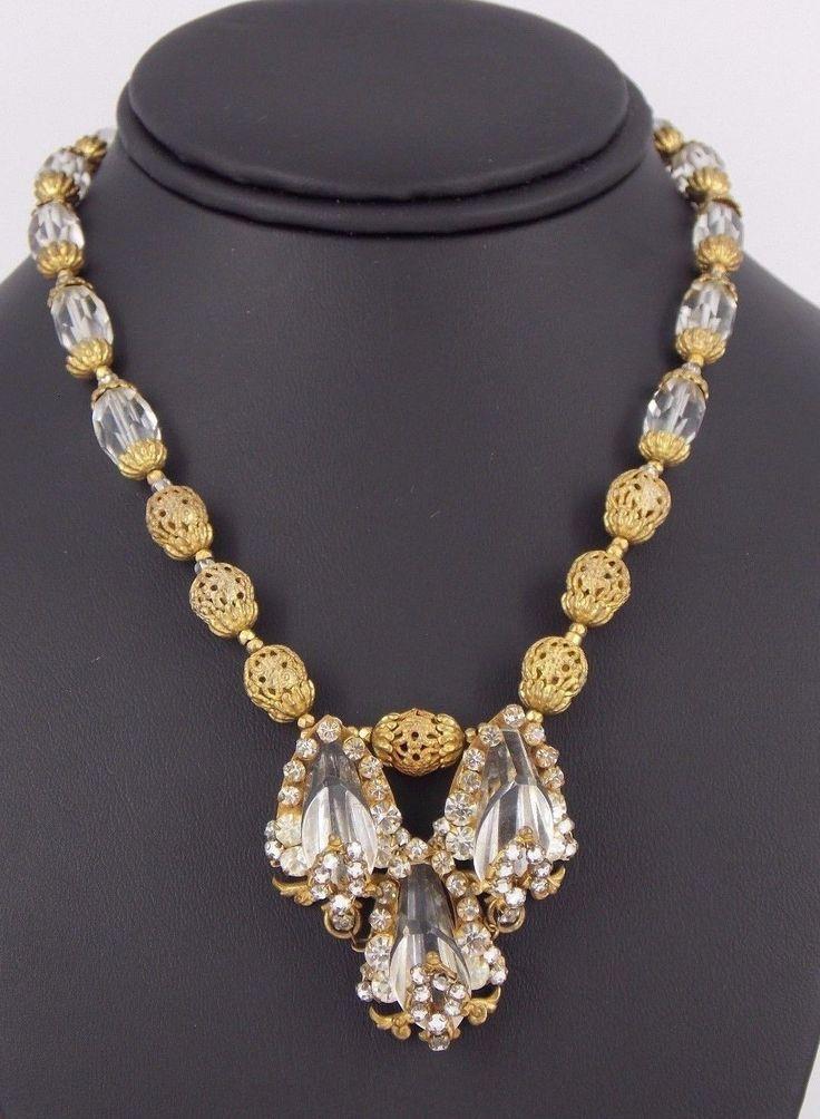 Vintage RARE Miriam Haskell Rhinestone di cristallo di vetro collana in ottone | eBay