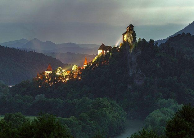 Orava Castle at night