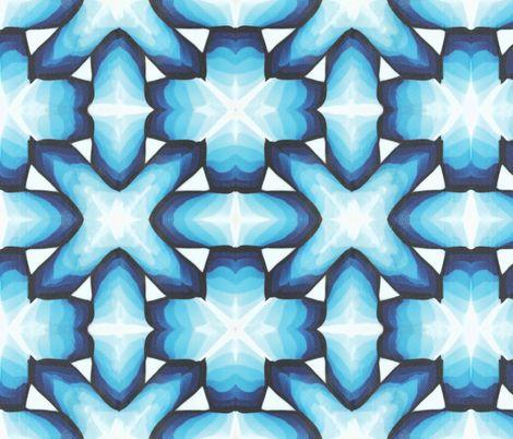 blue geometric interlocking tile fabric by doodlepippin on Spoonflower - custom fabric