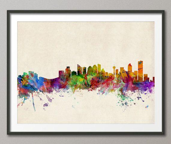 Calgary Skyline Alberta Canada Art Print 542 by artPause on Etsy, £11.99