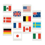 FLAGS of ALL NATIONS - Tattoos Temporary Tattoo Pack 36 Free Postage