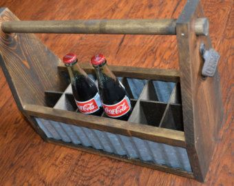 Wooden tool box planter with corrugated tin sides by ByMikenTiff