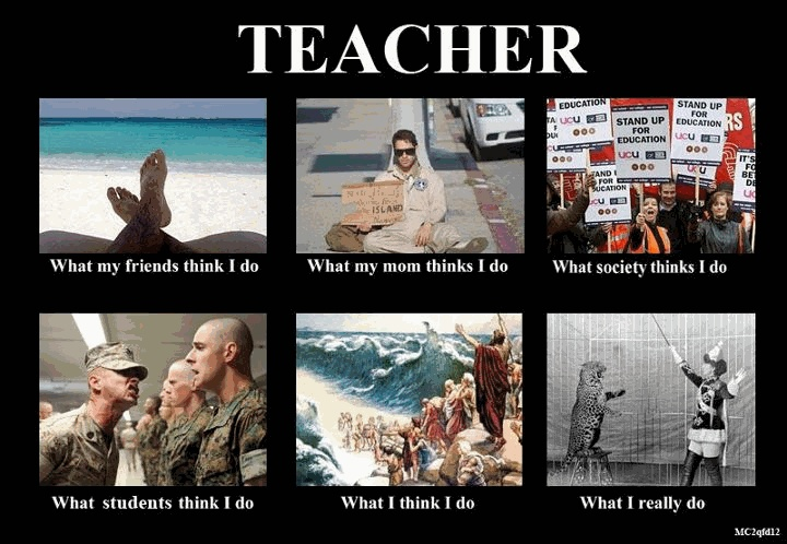 All except mom one fits me...if my family actually saw me outside a classroom during the school year they'd be amazed!!