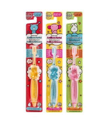 The Thera Wise Antibacterial Children's Toothbrush contains a natural mineral in the bristle of the brush that produces a minus ion coating on the surface of the tooth to improve plaque removal and eliminate food build up. Due to this effect no toothpaste is required, only water. This toothbrush will leave your mouth feeling fresh and clean all day, and the soft rounded bristles will gently massage the gums.