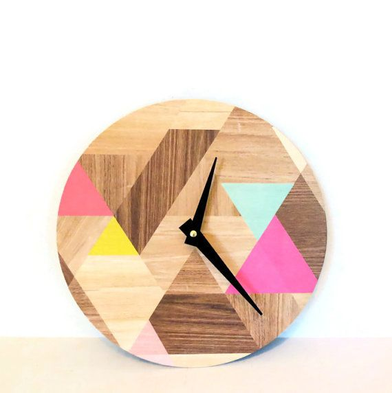 Wall Clock, Etsy Art, Modern Clock, Woodgrain Pattern, Round Face Modern Clock, Geometric Design, Printed Wood Design,