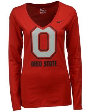 Nike Women's Long-Sleeve Ohio State Buckeyes Logo T-Shirt - Red L