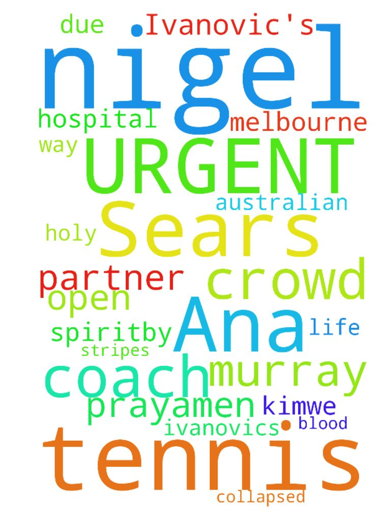 URGENT Please Pray for Nigel Sears Ana Ivanovic's Tennis - URGENT Please Pray for Nigel Sears Ana Ivanovic's Tennis Coach who collapsed in the crowd at The Australian Open Tennis and is on the way to hospital in Melbourne Australia.His daughter is due to have a baby anytime  now.Andy Murray is the partner of Kim.We bind Nigel's life to God's Will and The Lord Jesus Christ.We cover them all in the Blood of Jesus and The Holy Spirit.By His stripes Nigel is healed.In Jesus Name we Pray.Amen…