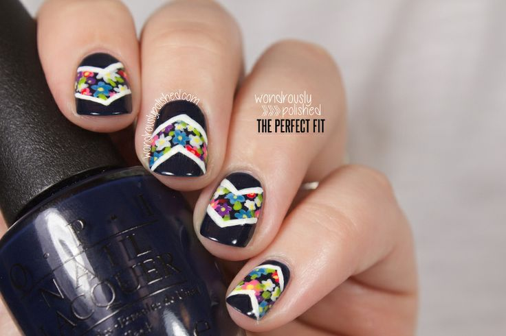 Mani Monday - Deb Shops Floral Chevron Tutorial - Wondrously Polished