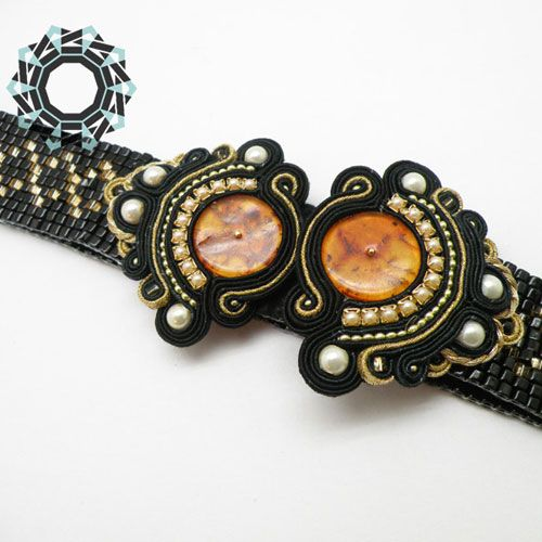 Woven beaded belt with soutache | Tender December
