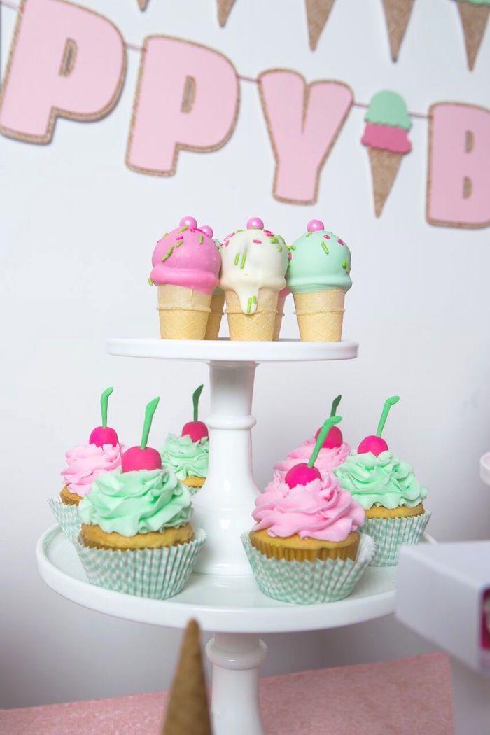 Ice cream cone cake pops cupcakes from an ice cream parlour birthday