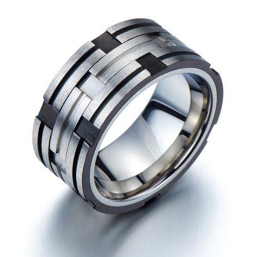 Exquisiten Stil- Herren-Ring- Edelstahl- Reifen Design- Silber Schwarz Zwei Töne(10)