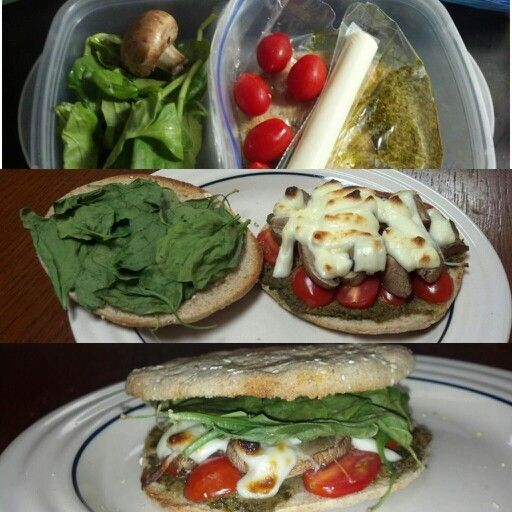Another prepackaged meal of mine for lunch.100 calorie sandwich thin, pesto, tomato, low fat mozzarella cheese, spinach, mushroom. Toasted (smells amazing in the toaster) Easy and Yummy!