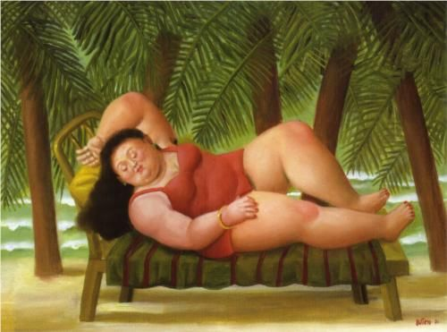 """Bather on the Beach"" (2001) by Fernando Botero via Wikipaintings."