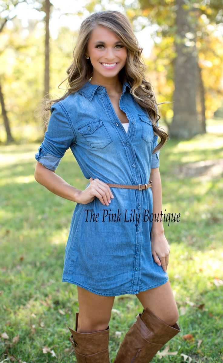 Denim Belted Dress - The Pink Lily Boutique