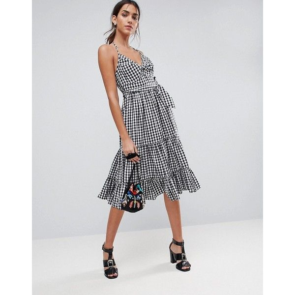 ASOS Gingham Tiered Midi Halter Sundress ($51) ❤ liked on Polyvore featuring dresses, multi, tie neck tie, asos cocktail dresses, halter midi dress, open-back dresses and open back cocktail dress