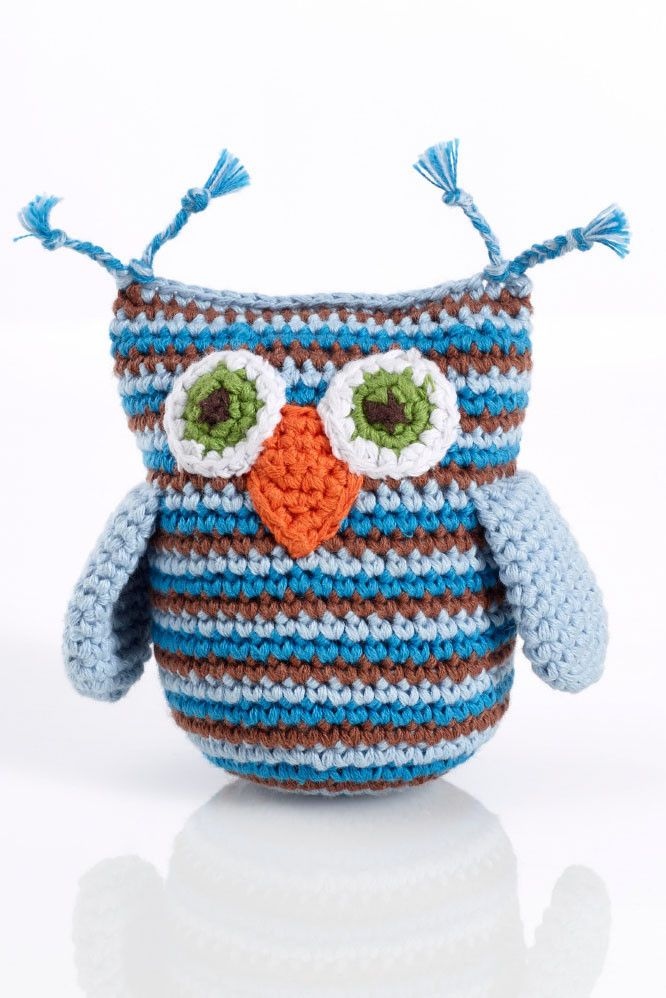 Pebble Blue Stripe Owl