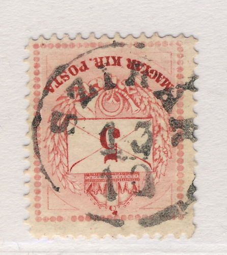 HUNGARY-SZIRAK-CDS-ON-1874-5-K-ROSE-RED-P-13-MiNr-17aA