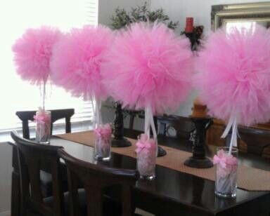Topiary centerpieces tulle and styrofoam ball on pinterest for Baby shower tulle decoration ideas
