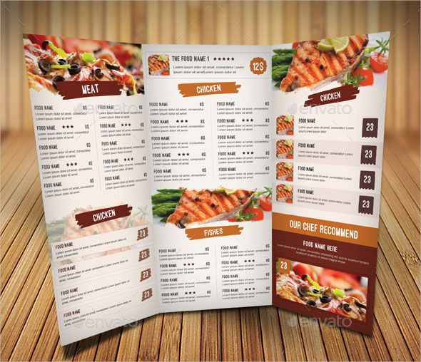 """Restaurant Food Menu Design This PSD template is perfectly Suitable for Restaurant, Catering, Cafeteria etc. Easy to edit font, text, color, fully adobe Photoshop format. When youíll open files you will see some Dark Grey Aea to Repalce Photos, go to layers and double click on """"pic"""" layers .Paste your photo Use the preview image as reference to understand the original layout. - The file include 2psd files - Bleed - Fully editable Photoshop - Resolution: 300 dpi - Color mode: CMYK - Print…"""