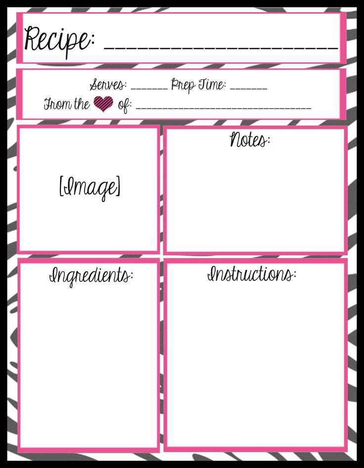 Mesau0027s Place Full Page Recipe Templates Free printables Ideas - free recipe card templates for word