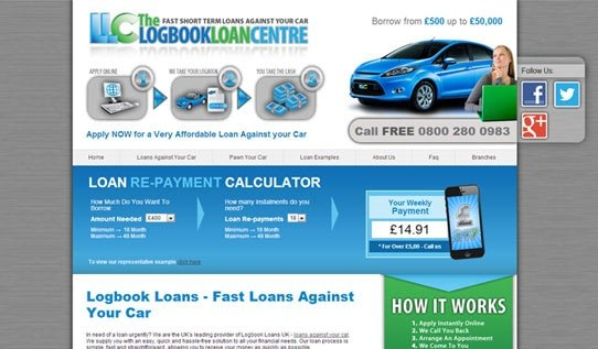 A logbook loan is an innovative manner in which to apply for a short-term loan against your car. The Logbook Loan Centre required a site that importantly focuses on professionalism and ease of application for those interested in applying for a loan online within a limited timeframe. The site's homepage thus focuses on 3 easy steps in order to apply for a logbook loan. Useful tools such as a loan repayment calculator have been placed on the site to guide individuals interested in applying.