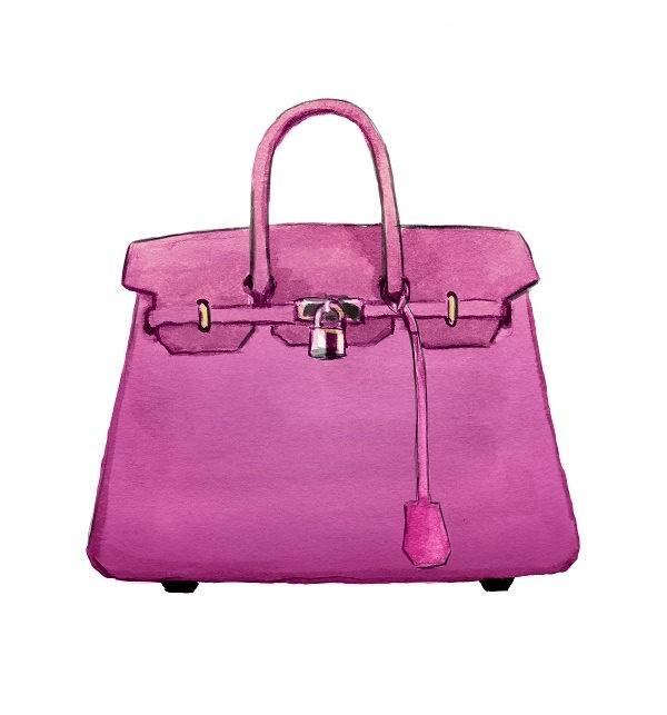 hermes birkin handbag, watercolor fashion illustration ...  watercolor purse diagram