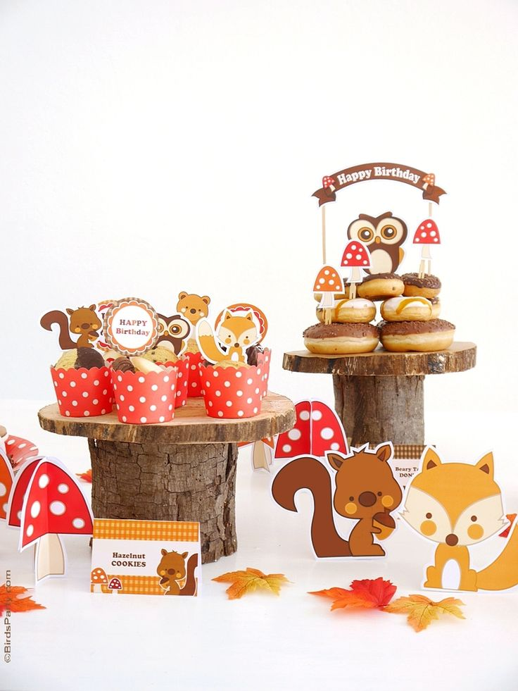Woodland Animals Owl, Fox, Bear & Squirrel Party Ideas, perfect for boys or girls! I LOVE how easy this is to copy for my kids!   BirdsParty.com @birdsparty