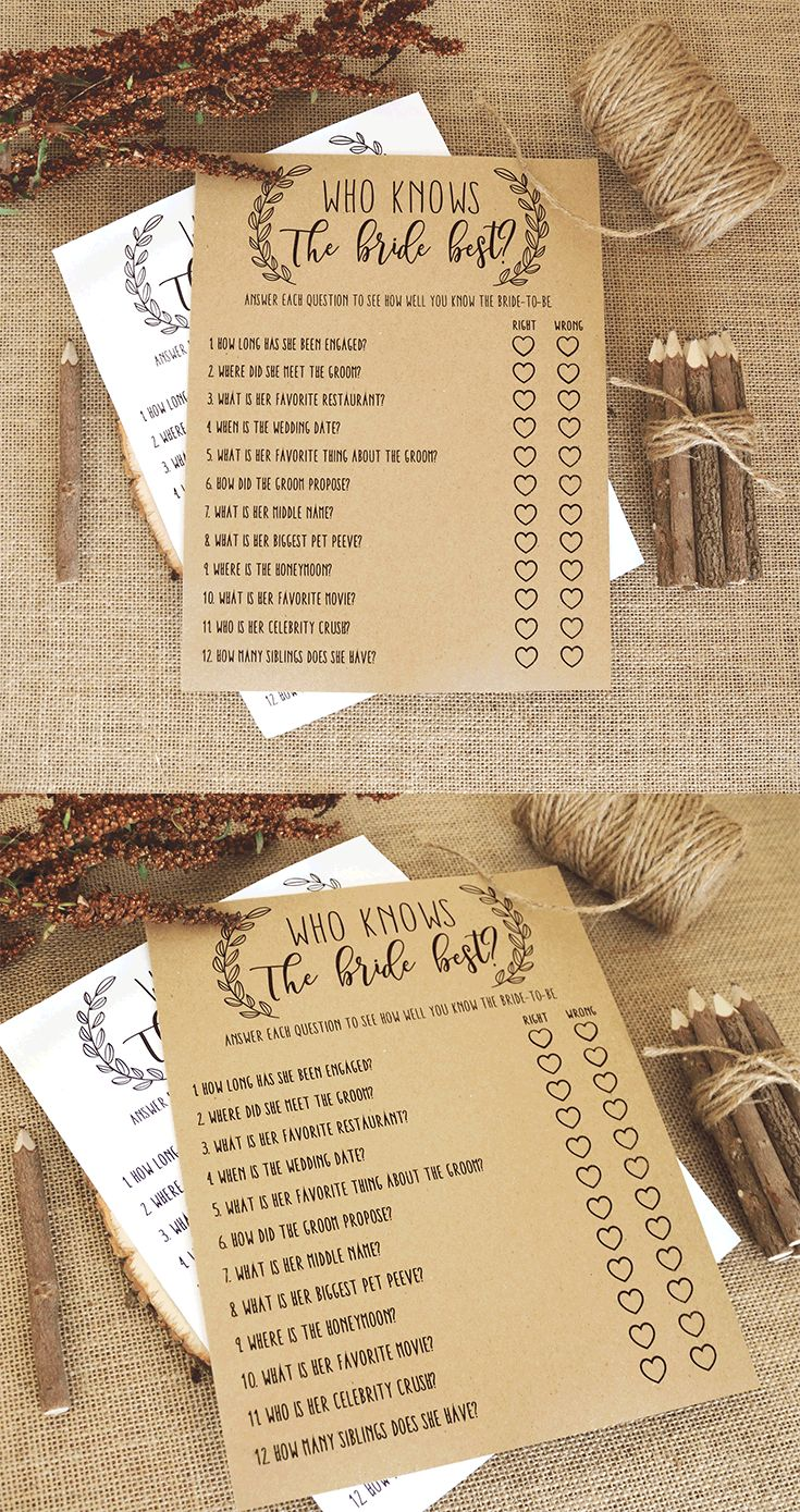 free printable bridal shower games how well do you know the bride%0A Who Knows The Bride Best  Bridal Shower Question Game  Wedding Shower Game   Rustic