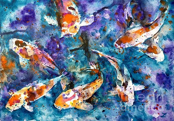 Koi impression watercolor by zaira dzhaubaeva size 29 for Koi fish size