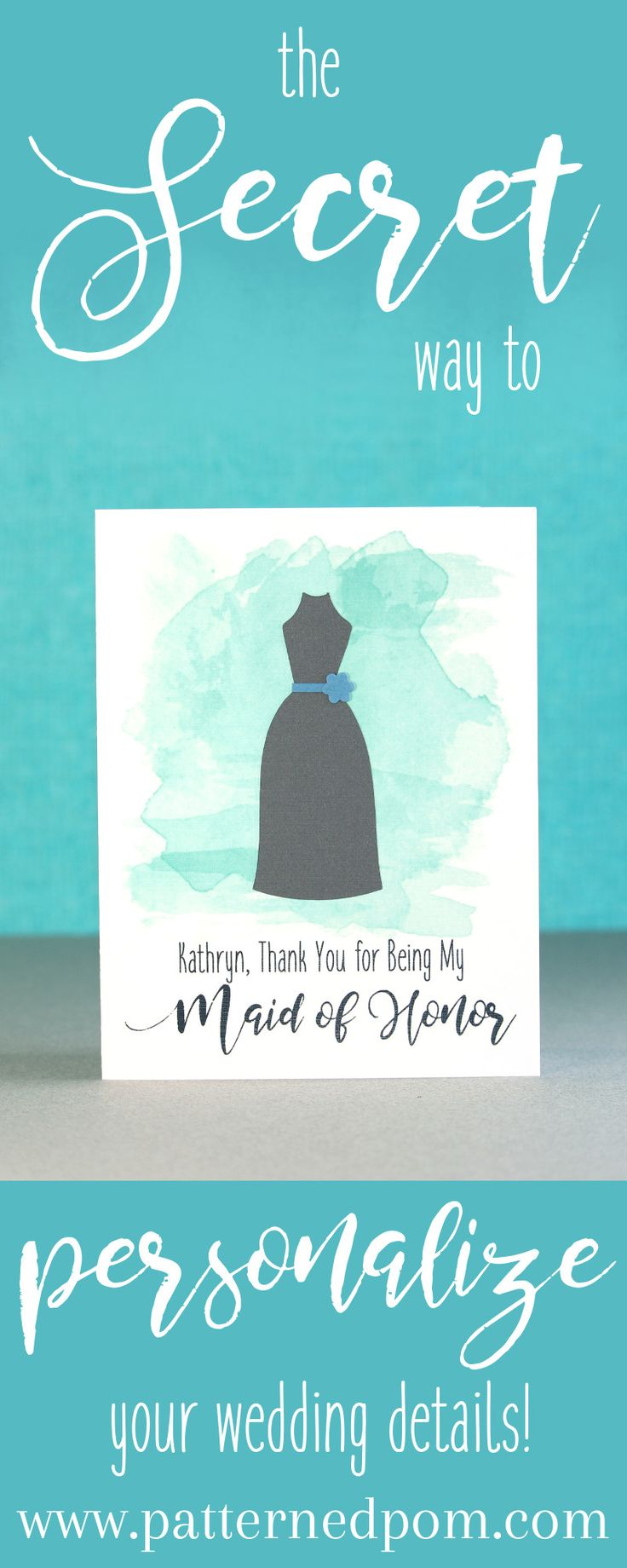 wedding thank you cards time limit%0A Adorable handmade Maid of Honor thank you card with watercolor   www patternedpom com