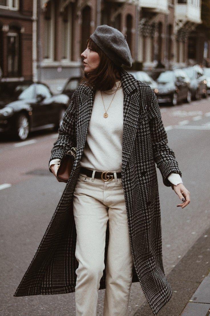 winter whites and check print coat //Maggie Richmond// #frenchgirlfashion