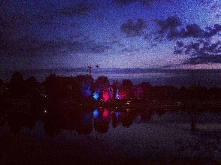 The Parco Marecchia, lit up for the 2014 Festa de'Borg