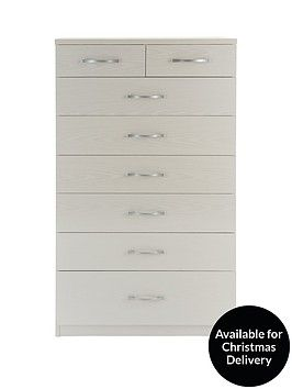 Peru 6 + 2 Chest of Drawers Oak-effect, White Grain-effect or EspressoThe Peru collection is one of our lowest-priced bedroom furniture ranges, yet possesses more than enough function and fashion to update your home.The chest of drawers comes in a choice of 3 finishes…Choose from an oak-effect finish, which is great for giving your bedroom a more traditional mood, or get a more contemporary look with the espresso or white grain-effect versions. The white grain version is designed to look…