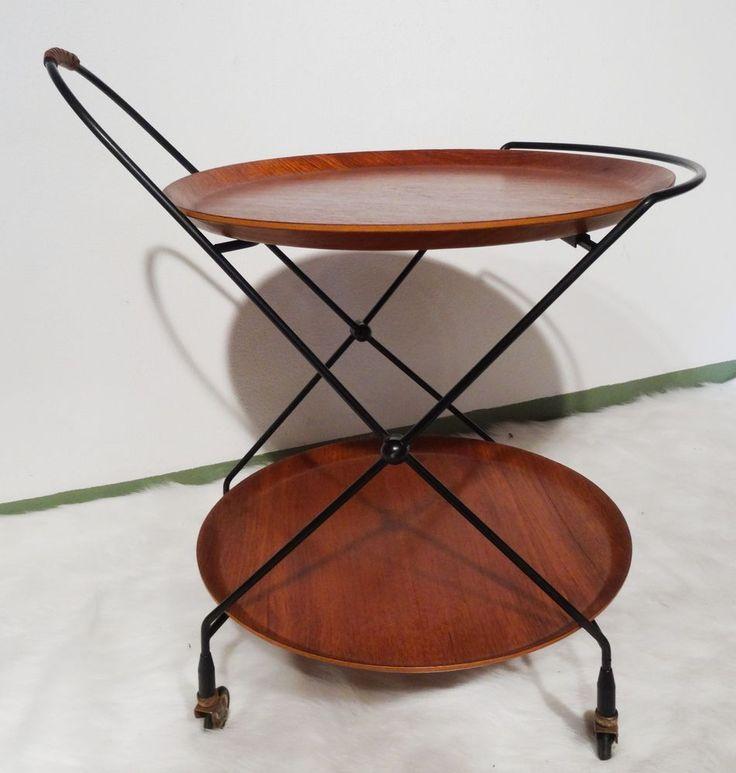 mid century danish design Klappbarer Servierwagen Teak String Tablettwagen 60er in Antiquitäten & Kunst, Design & Stil, 1960-1969 | eBay!