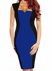 Not sure of the quality, but rosegal.com has some amazing prices . . . Stylish Square Neck Sleeveless Spliced Bodycon Color Block Women's Dress
