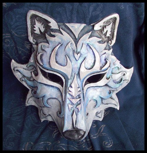 Beautifully rendered totem mask. While very common in Central America with tropical animal themes, cold climate totem masks are unusual. http://www.etsy.com/listing/105991461/wolf-mask-any-color?ref=pr_shop