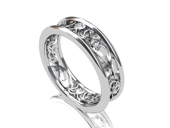 Diamond Ring White Gold Wedding Band Filigree Vintage Style Unique Nickel Free Engagement