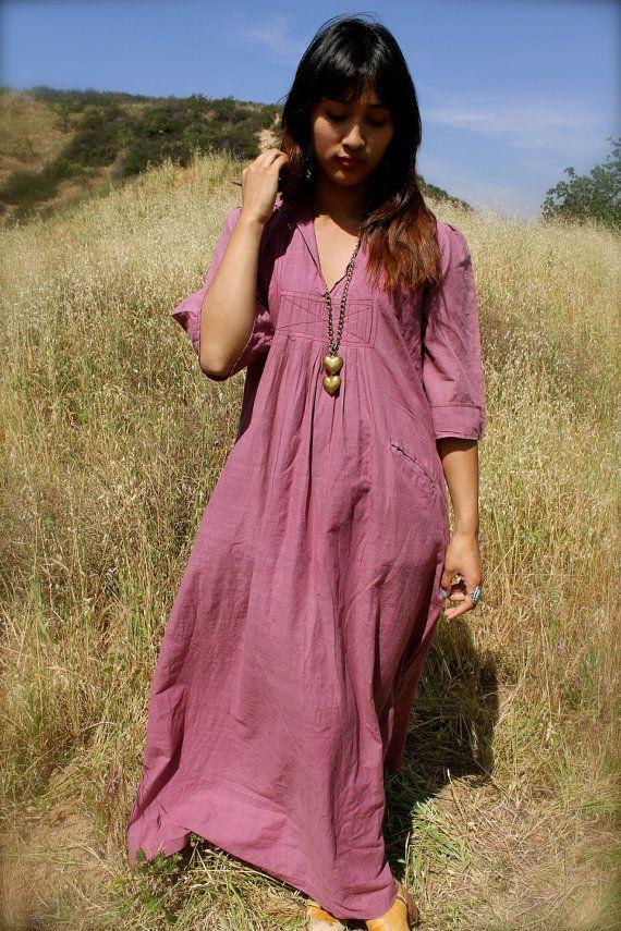 Vintage Indian Maxi Dress Light Weight Cotton