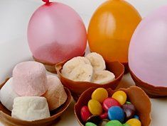 Chocolate balloon bowls can be used for an Easter dessert.  Choose healthy fruit and/or add some favourite sweets for filling.  Use water balloons blown up to the size of an Easter egg and dip into cooled melted chocolate, set on baking paper.  Have your toddler pop the balloons and help fill for their guests.