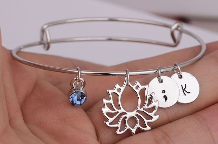 New Fashionable Lotus Bangles for women DIY Crystal letters Jewelry Silver plated semicolon Bracelets YLQ0184