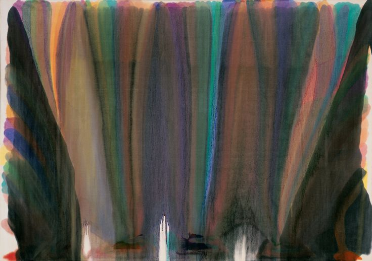 Morris Louis's painting Dalet Kaf from 1959 is currently on exhibition at the Fort Worth Modern Art Museum.  The painting is acrylic resin on canvas and measures 100 5/8 X 143 inches, taking up alm...