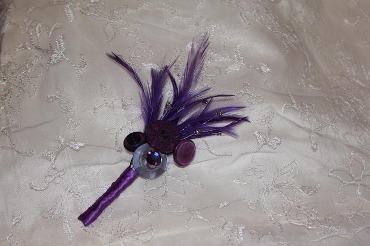 Purple button corsage - Forever button bouquets