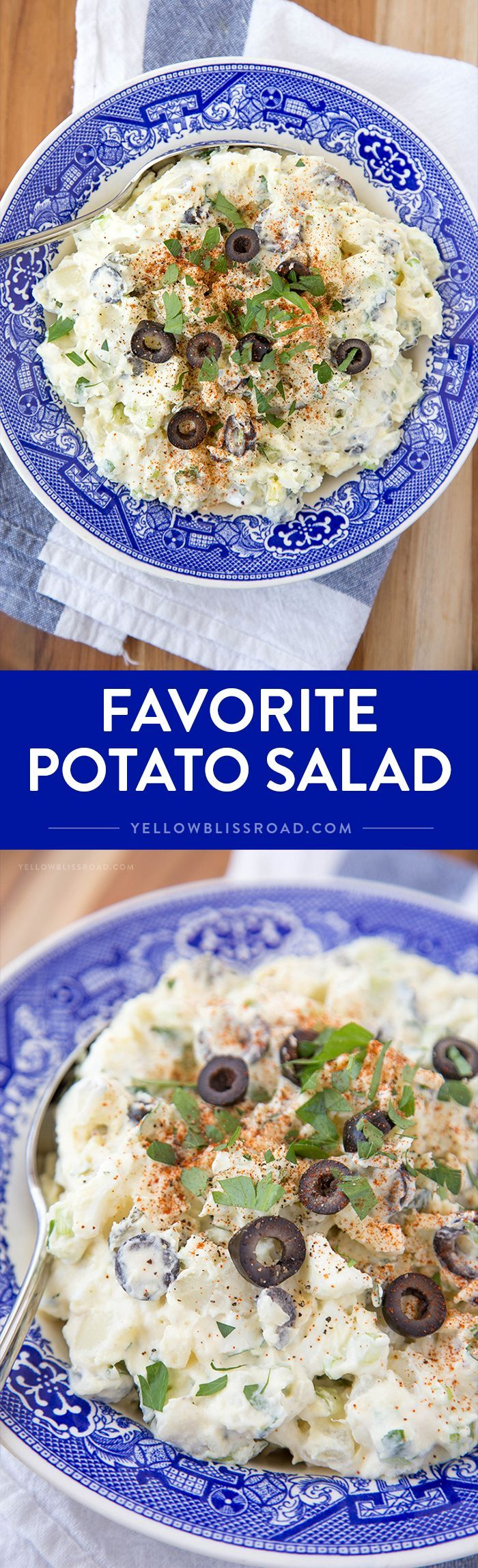 Favorite Potato Salad - a classic summer side dish for barbecues and picnics, with pickles, olives and hard boiled eggs.