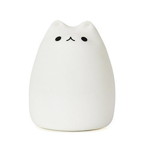 GoLine Remote Control LED Kitty Night Light, Cute Multicolor Children Baby Nursery Lamp, Tap Control, 5 Light Modes, Static/Breathing/Flashing, Brightness Adjustment, 12-hour Portable Use.(NL008)
