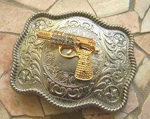 Gun Belt Buckle, Gold Gun Belt Buckle, Cross Pistol Rhinestone Gun Western Engraved Womens Mens Buckle, Rhinestone Gun Custom Belt Buckle