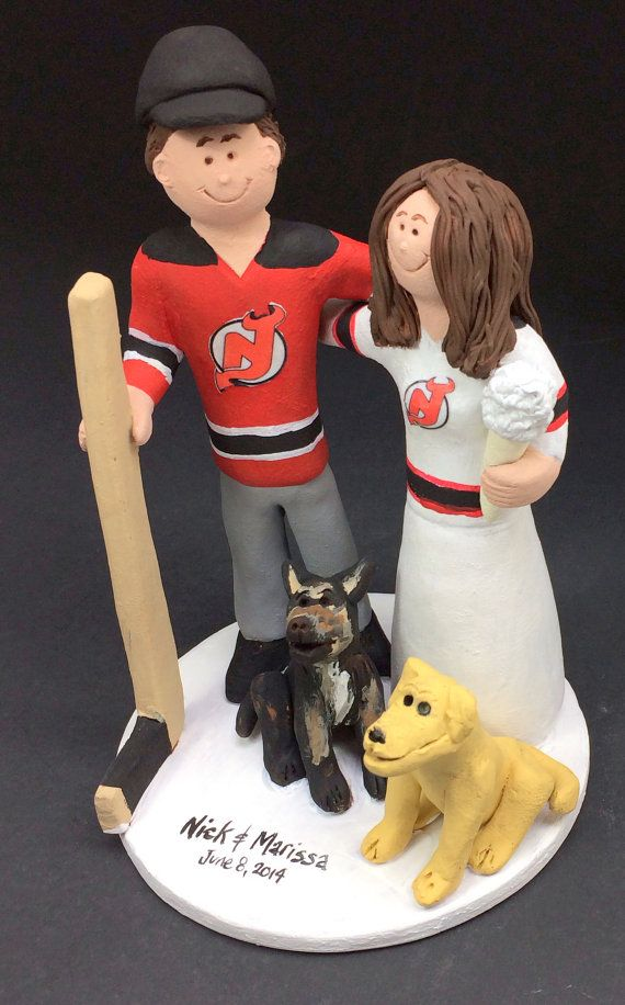 New Jersey Devils Bride and Groom Hockey Wedding Cake Topper - Custom Made Hockey Bride Wedding Cake Topper, NHL Wedding Cake Topper    Custom Made Hockey Bride Wedding Cake Topper, NHL Wedding Cake Topper  Personalized Custom Made Wedding Cake Topper, created just for you!     This photographed listing is but an example of what we will create for you!    $235 #magicmud 1 800 231 9814 www.magicmud.com