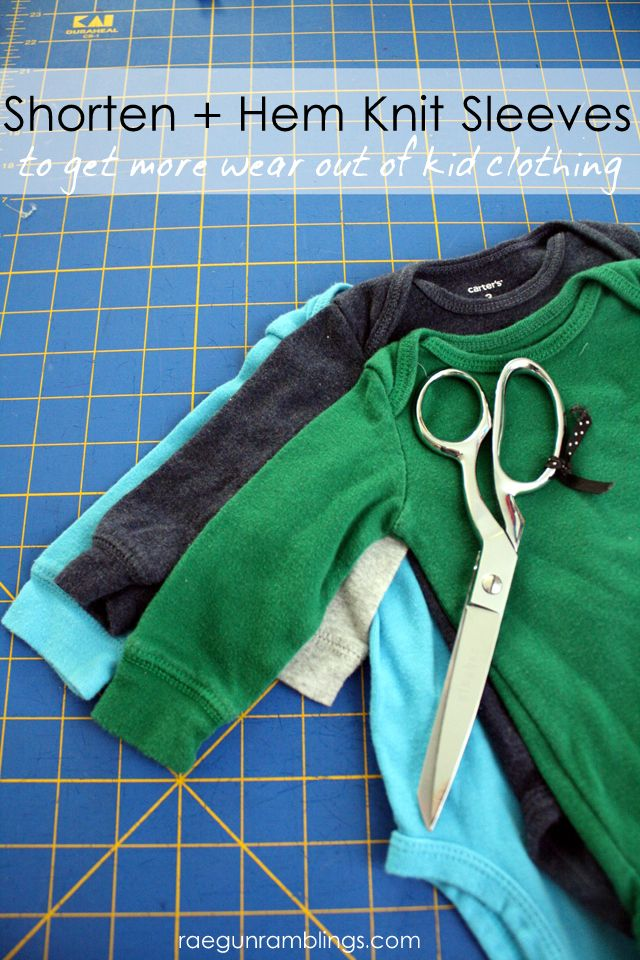 How to shorten and hem sleeves the easy way. Perfect for out of season kid clothing - Rae Gun Ramblings