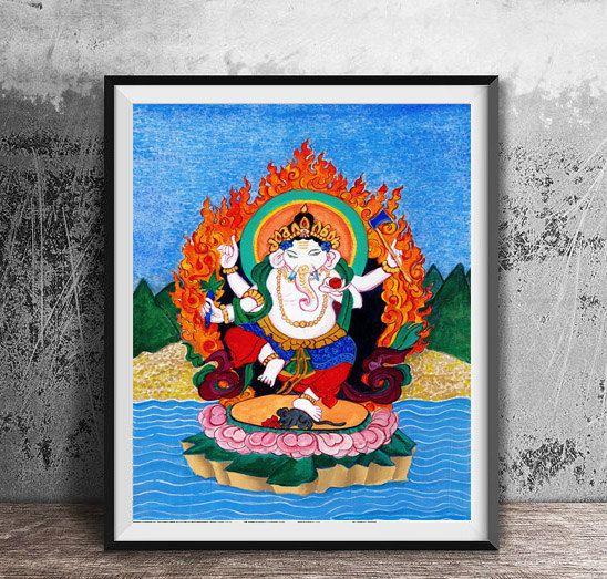 Ganesh, Hindu Buddha, Lord Ganesha Original Watercolor Painting, elephant god, childs room art, yoga art, tibetan thangka style painting by ZenBrush on Etsy