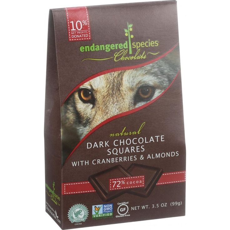 Endangered Species Natural Chocolate Squares - Dark Chocolate - 72 Percent Cocoa - Cranberries And Almonds - Bite Size - 10 Count - Case Of 6