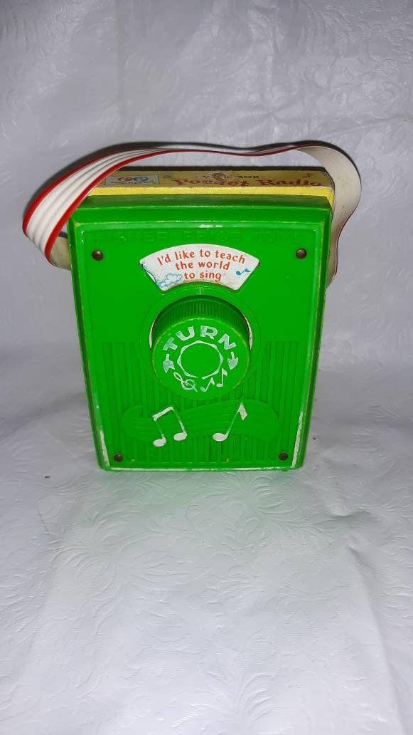 "Vintage Fisher Price Music Box Pocket Radio #766 ""Teach ..."